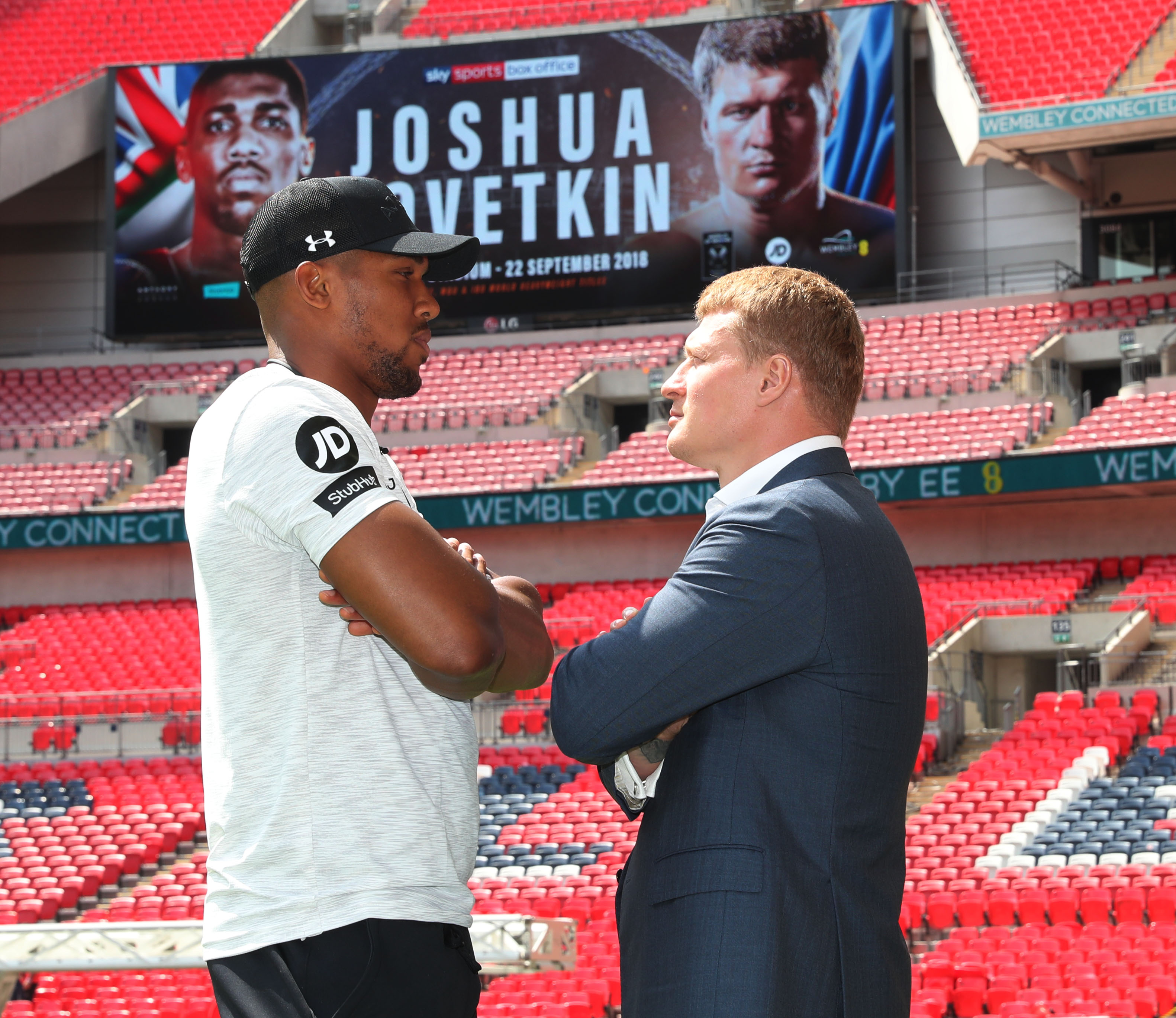 Anthony Joshua and Alexander Povetkin at Wembley Stadium