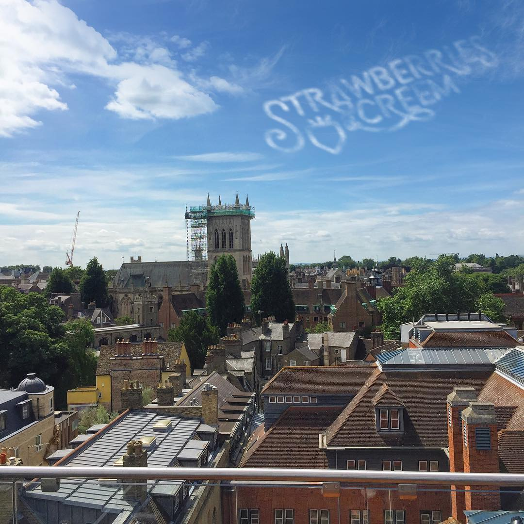 Strawberries and Creem skywriting in Cambridge