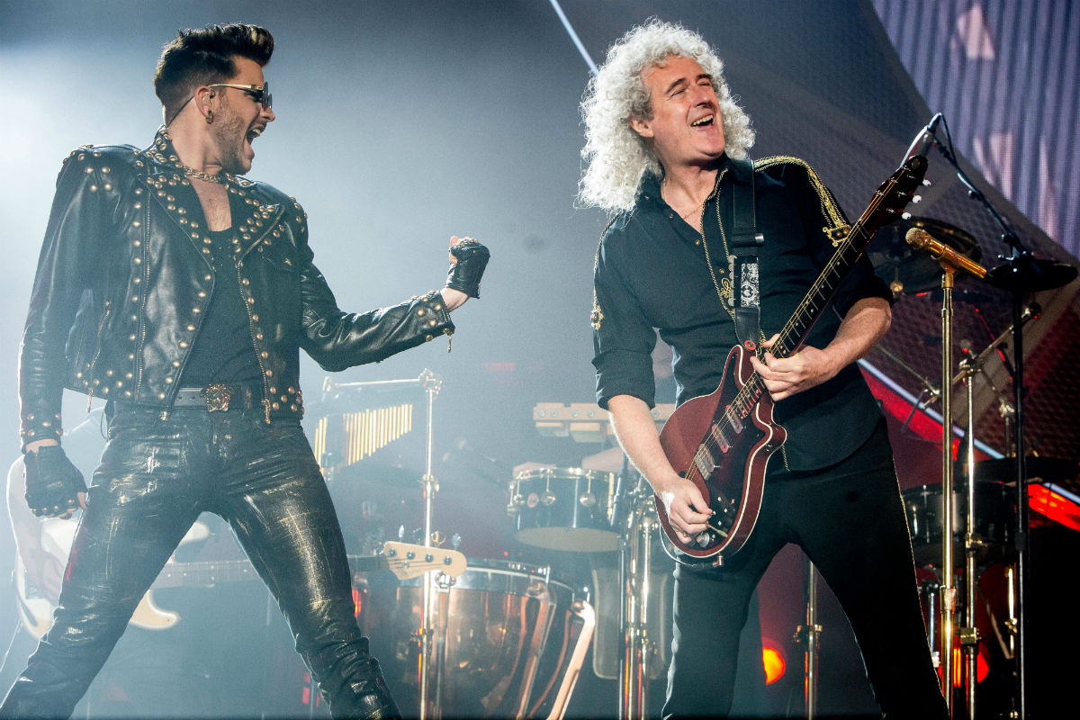 Brian May and Adam Lambert onstage