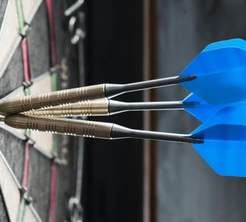 Blue dart flights on the bullseye