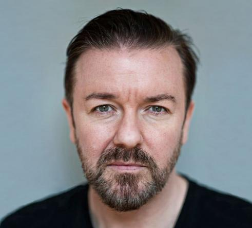 Ricky Gervais with plain background
