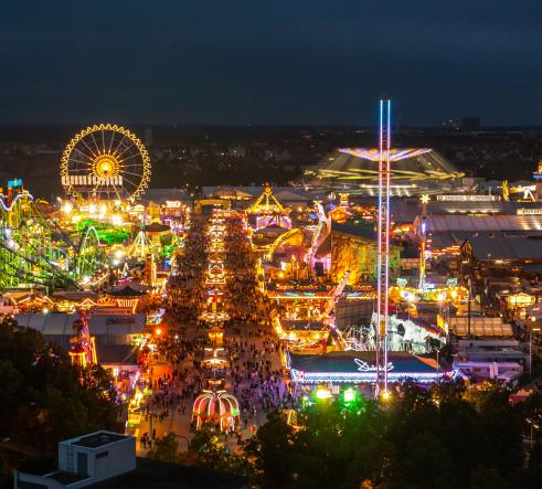 Oktoberfest grounds, funfair and tents