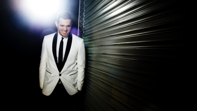 Michael Buble black background with spotlight