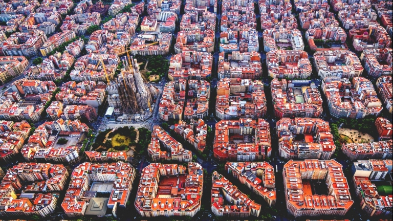 Aerial image of Sagrada Familia in barcelona